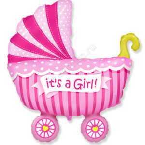 Фигура, Коляска для девочки, Розовый, 102 см