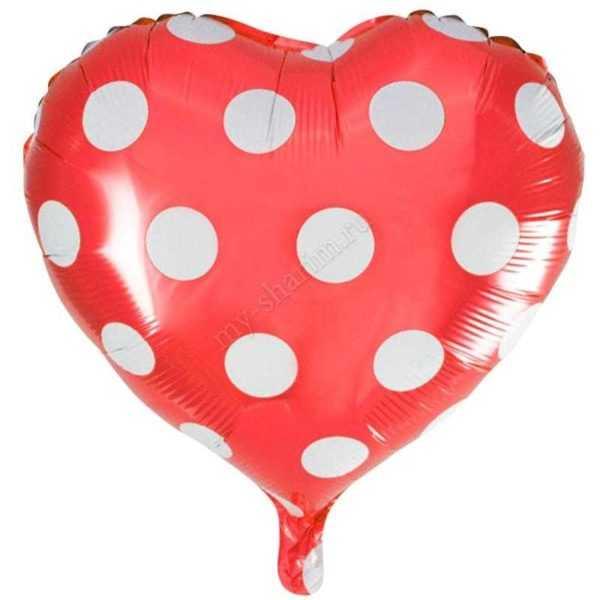 Шар Сердце, Точки, Красный, 46см