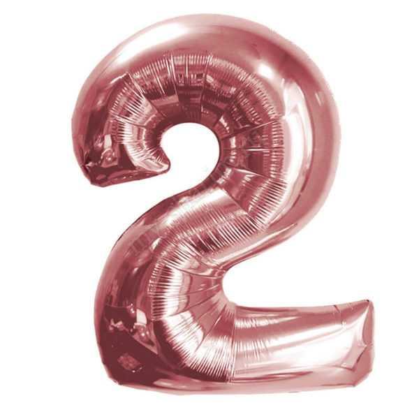 Шар Цифра, Розовое Золото, 102см , От 0 до 9, 1 шт.