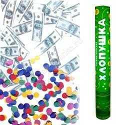 Пневмохлопушка (16''/40 см) Доллары и конфетти из фольги
