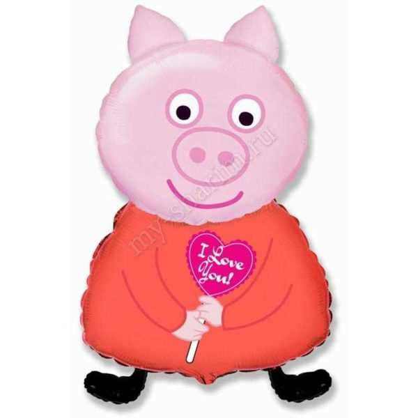 Фигура, Поросенок с сердцем, Розовый, 81см