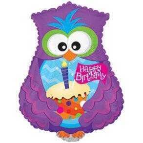 Фигура, Сова с днем рождения, Фиолетовый, 61 см