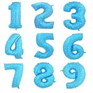 Шар Цифра, Синий звездочка, 102см , От 0 до 9, 1 шт.